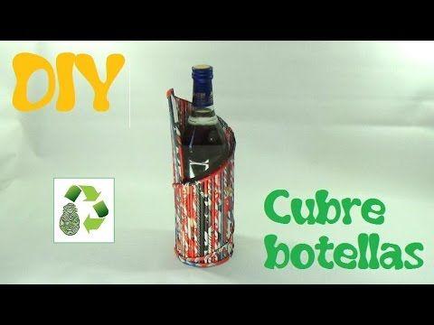 Porta bottiglie con cannucce di carta 169. DIY CUBRE BOTELLAS (RECICLAJE DE PAPEL) - YouTube