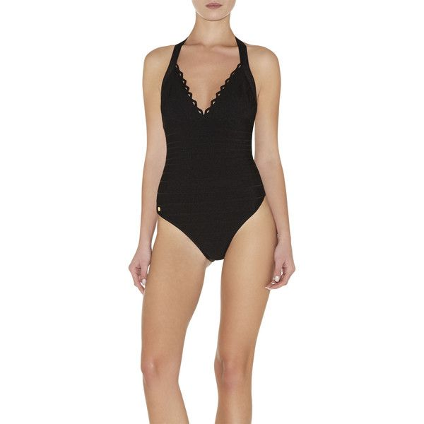 Herve Leger Michellii Cutout Scalloped Swimsuit ($396) ❤ liked on Polyvore featuring swimwear, one-piece swimsuits, black, cut out one piece bathing suits, scalloped one piece swimsuit, black bathing suit, halter top one piece swimsuit and one piece swimsuits