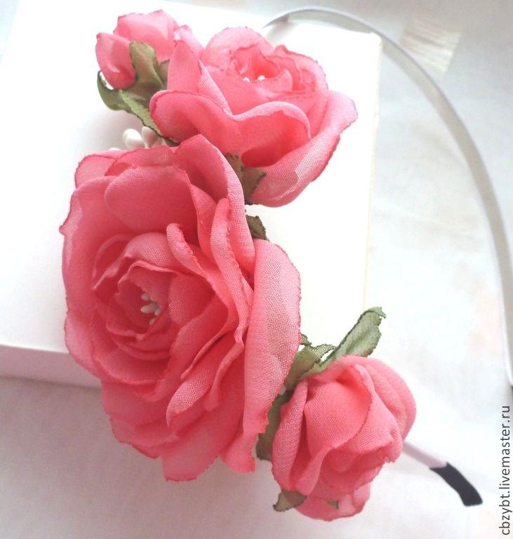 """Купить Ободок с цветами из шифона """"Дикая роза"""" - коралловый, ободок для волос, ободок с цветами"""