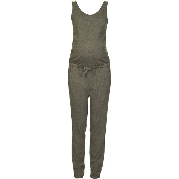 TOPSHOP MATERNITY Jersey Jumpsuit ($23) ❤ liked on Polyvore featuring maternity, baby, mama, pants and khaki