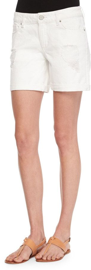 $103, White Denim Shorts: DL1961 Dl 1961 Premium Denim Karlie Cuffed Distressed Shorts. Sold by Neiman Marcus. Click for more info: http://lookastic.com/women/shop_items/233237/redirect