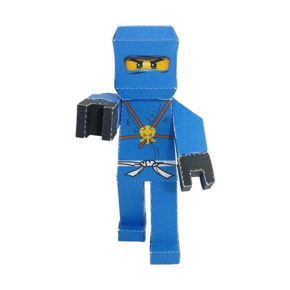 Personagem 3D Ninjago Jay em papel