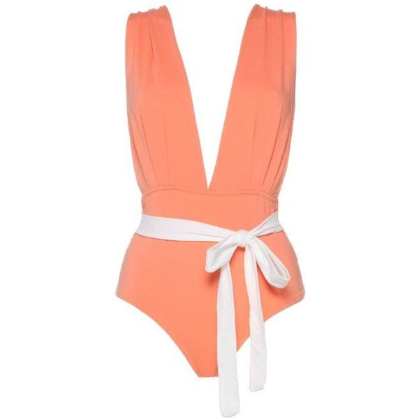 Luz Collections Sib Retro Belt Deep v Neck One Piece Swimsuit (€130) ❤ liked on Polyvore featuring swimwear, one-piece swimsuits, coral, sexy 1 piece bathing suits, retro one piece swimsuit, sexy swim suits, strappy swimsuit and one piece swimsuit