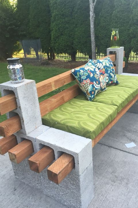 Block party: This cinder-block bench is an easy DIY solution when you've got a last-minute crowd coming over for a barbecue or backyard party. It takes about 30 minutes to put together and requires no tools.
