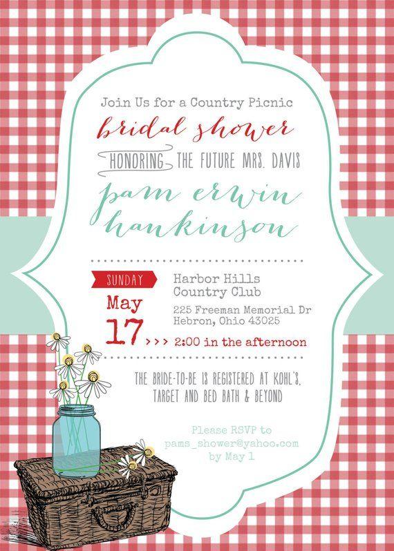 Country Picnic Bridal Shower Invitation Digital File