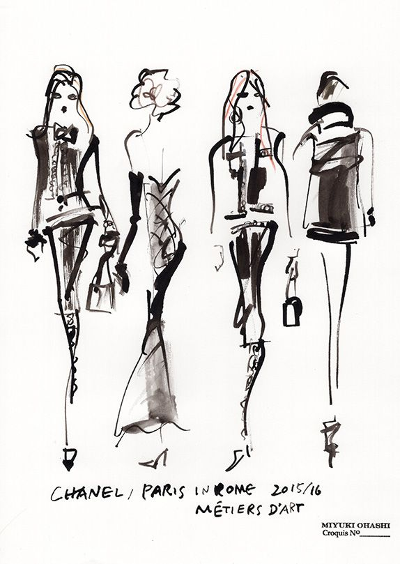 Fashion illustration - stylish fashion sketches // Miyuki Ohashi