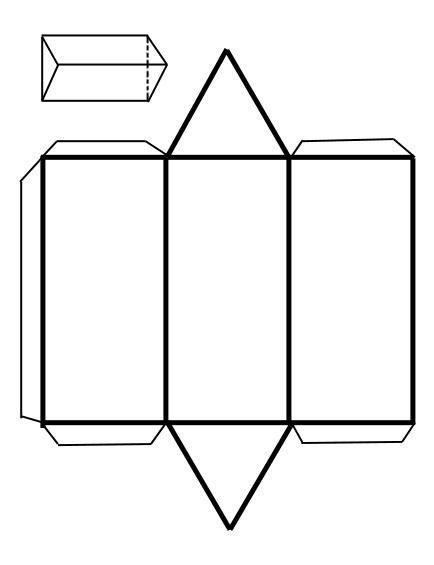 Recortables de figuras geométricas | Prisma triangular