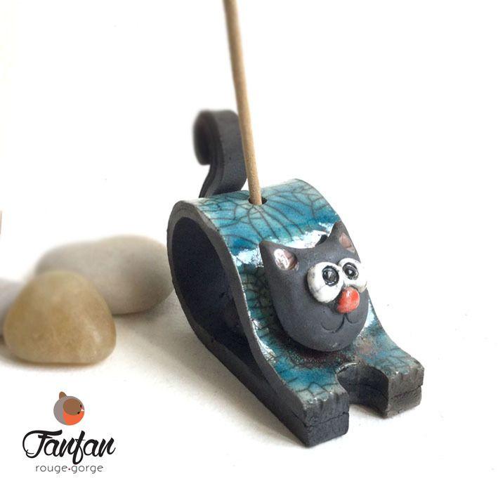 Porte-encens Chat Turquoise en céramique RAKU : Accessoires de maison par fanfan-rouge-gorge