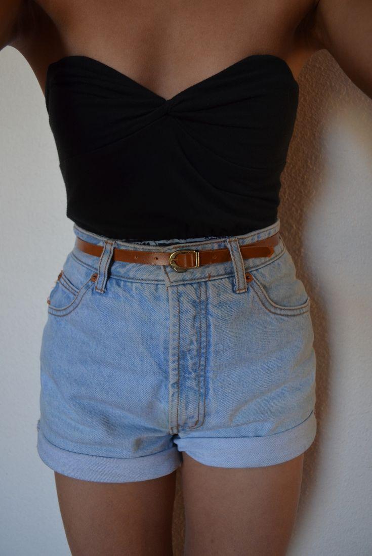 black top + belted denim shorts.