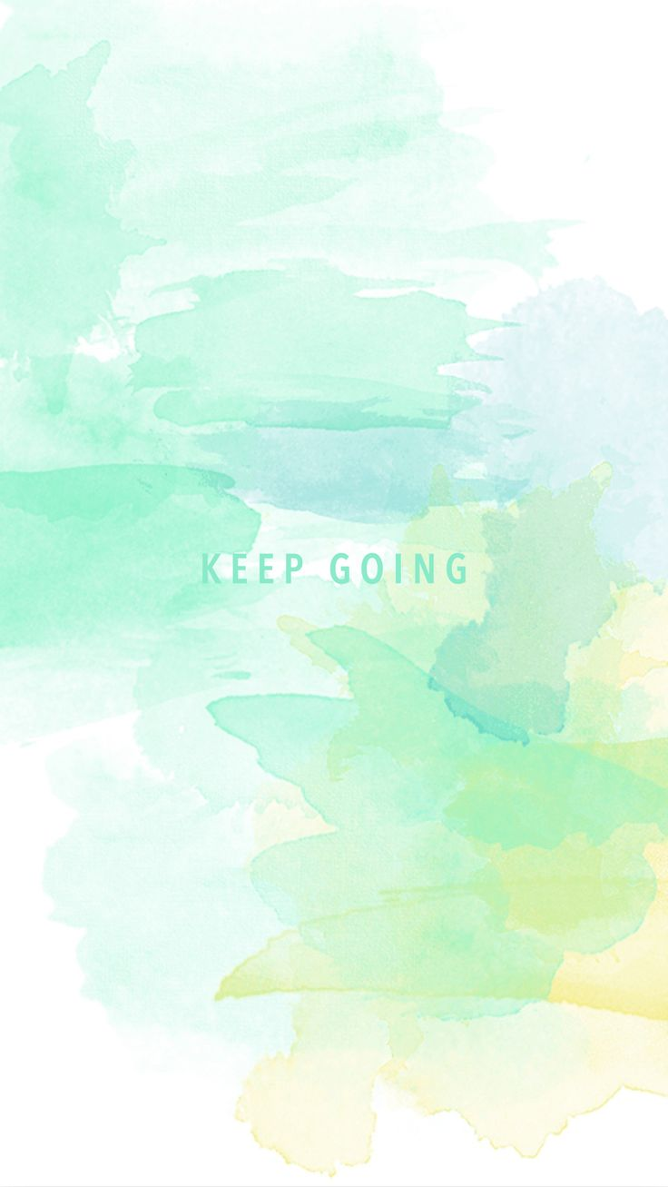 Mint green yellow watercolour Keep Going iphone wallpaper phone background lock screen
