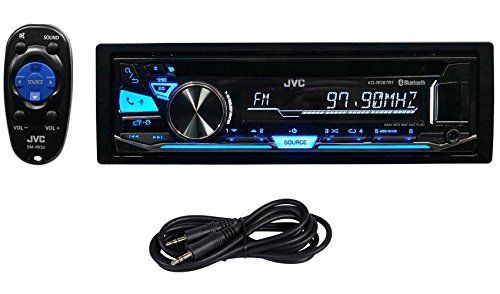 "Package: JVC KD-RD87BT 1-Din CD Player/Receiver With Pandora Control, Bluetooth, And USB + Trisonic 6 Foot 3.5"" P-Text 24/48 Aux Input Wire"