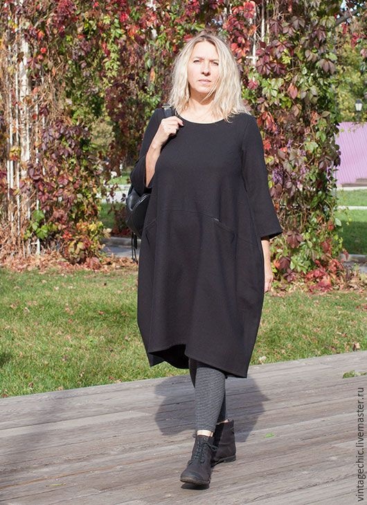 Купить Платье сезона из черной шерсти art.132a - черный, однотонный, платье, повседневное платье
