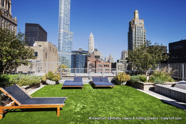 Rooftop Garden On Top Of The Mda Chicago City Apartment Building On Lake Street Downtown