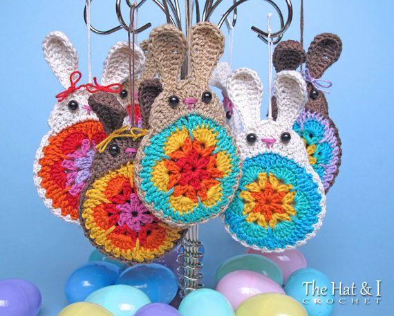 CROCHET PATTERN - Bunny in Bloom - a crochet bunny pattern, applique pattern, bunny ornament, bunny motif pattern - Instant PDF Download