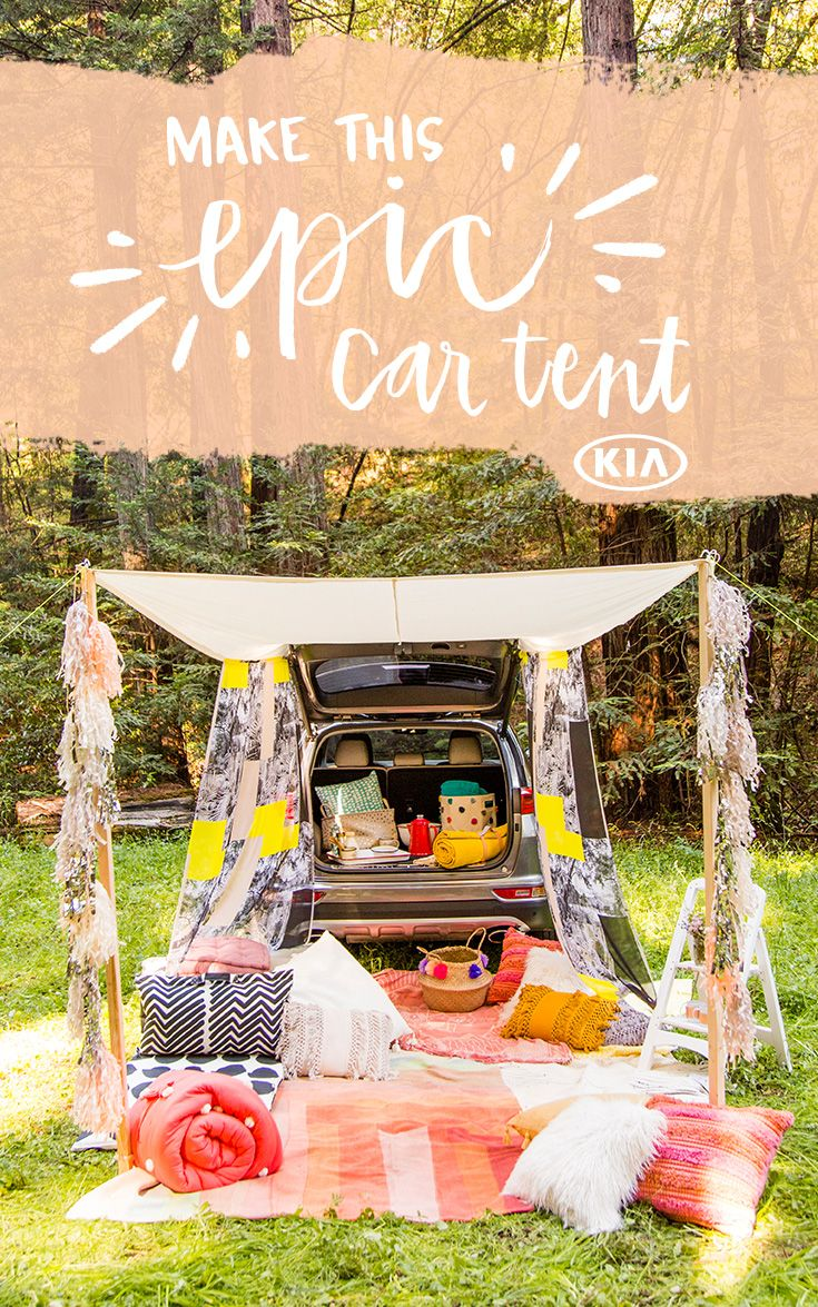 Planning a weekend camping getaway? Glamp in style with this step-by-step tutorial for a roll-up trunk canopy. It's like a chic little outdoor living room built right off the trunk of your car! All you need is some colorful fabric, a few grommets and a sewing machine. #partner