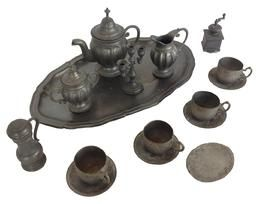 A147  19th century wire cutlery tray, with 14 pc. Child's toy silverware and  German metal cutlery tray