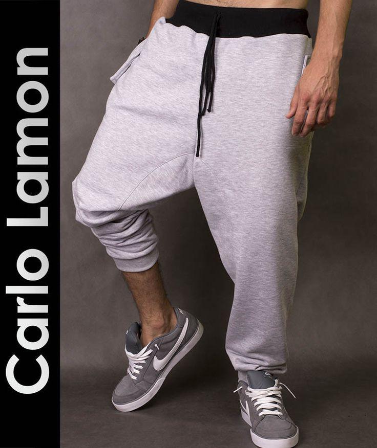 Spodnie dresowe z  obniżonym krokiem idealne na co dzień, do joggingu i na siłownię. http://lamon.pl/product-pol-6207-Szare-spodnie-dresowe-Marco-Carlo-Lamon.html
