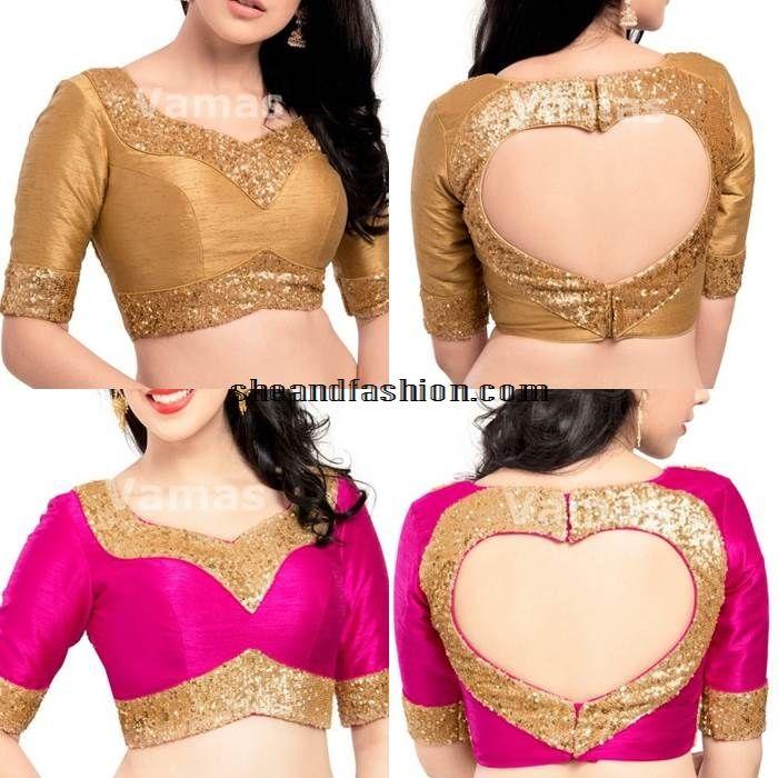 Latest silk saree back neck blouse design
