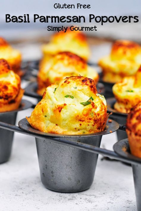 Simply Gourmet: Gluten Free Basil Parmesan Popovers #HealthyEating #CleanEating #ShermanFinancialGroup