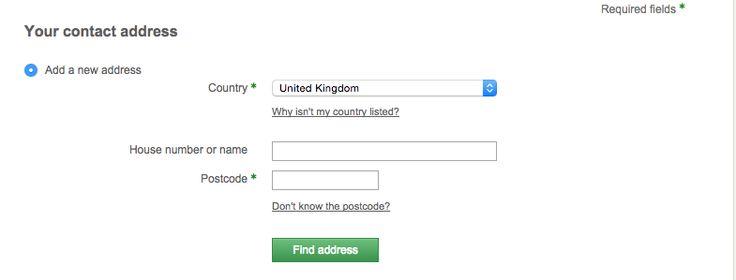 John Lewis - Online shop - Contact information form - Efficient address finder