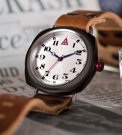 'No. 1929' White British Cushion Luxury Watch for Men by W. T. Author