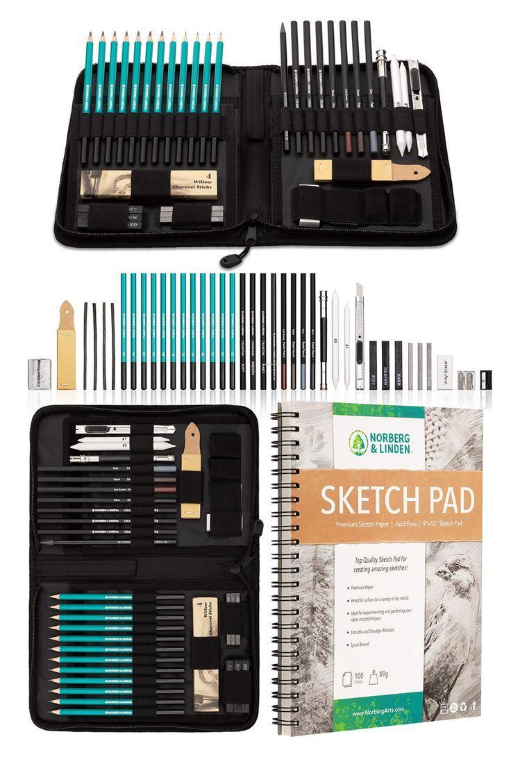 XXL Drawing Set Art Set Sketching and Charcoal Pencils 100 Page Drawing Pad