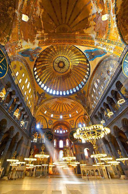 The Islamic decoration on the domes of the interior of Hagia Sophia ( Ayasofya ) , Istanbul, Turkey   Photos Gallery