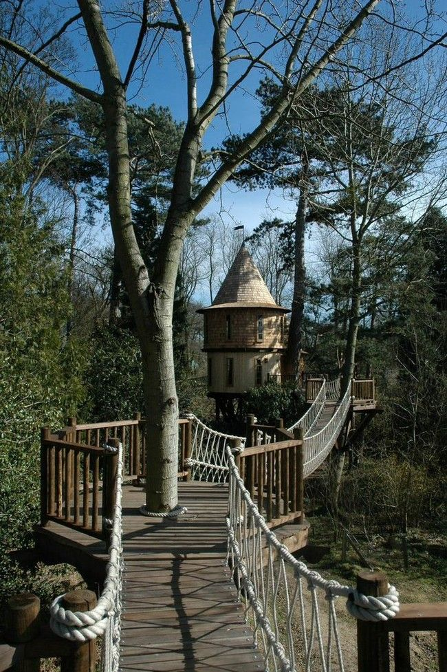 The children's tree house looks like it's straight out of a fairytale.