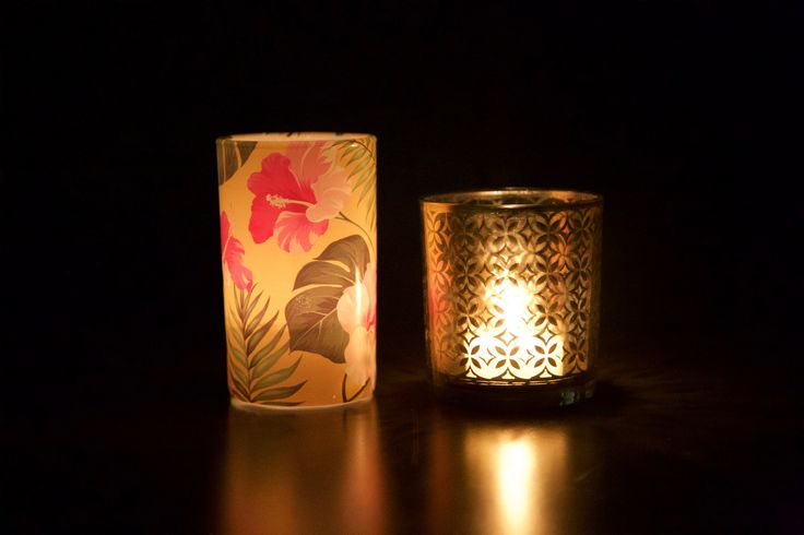 Tropical/Polynesian votive candle holders