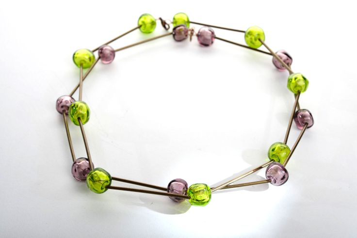 Sassi necklace - glass and brass www.materiaprimadesign.it