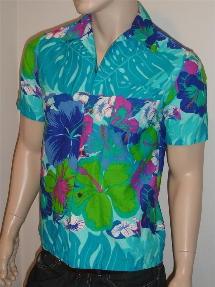 Vtg 60's ReTrO SEARS PsYcHeDeLiC Men's Hawaiian Fashions Hibiscus Shirt Hippie S