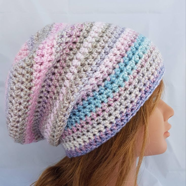 womens slouch hat, slouchie beanie, vegan friendly beanie,  womens crochet slouch hat, unicorn color hat, pastel beanie, easter color beanie by crochetHQ on Etsy