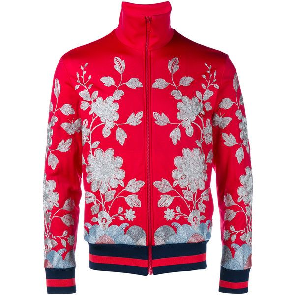 GUCCI Floral Embroidered Track Jacket ($1,680) ❤ liked on Polyvore featuring men's fashion, men's clothing, men's activewear and men's activewear jackets