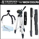 Tripod Kit For Nikon COOLPIX P100 P500 P510 Digital Camera Includes 50-inch Full Tripod w/ Case + 67-inch Monopod + Gripster Flexible Tripod + MicroFiber Cleaning Cloth:Amazon:Camera & Photo