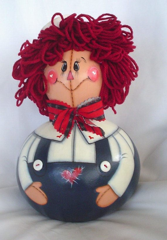 Raggedy Andy Gourd Doll  Hand Painted by FromGramsHouse on Etsy,