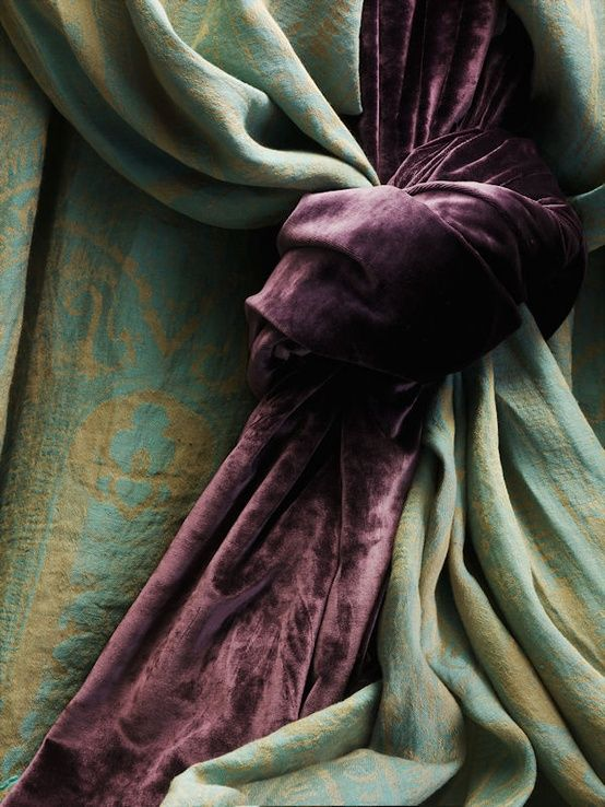 Velvet (and silk brocade or jacquard?) drapes.  I am so in love with these!  This is an *intentional* re-pin.  I saw the gorgeous green and purple velvet chair too late to put it with the similar items below.