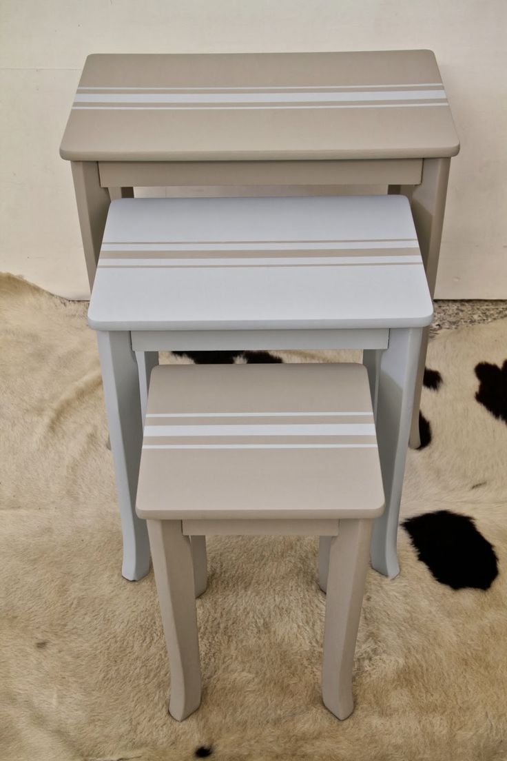 I Restore Stuff: Painting Grain Sack Stripes - Creating a French Linen Look on Nested Tables