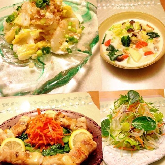 私の住む街でも薄っすら雪景色になりました☃ 寒いですね〜そんな日は野菜たっぷりのクラムチャウダーを作りました♪♪  そしてお気に入りのリピートお料理 ⭐ともさんの餅の豚肉巻  ずっと作りたかったお料理 ⭐おかなさんの白菜のサラダ  ともさんの餅の豚肉巻はボリョームがあってリピートしたくなるお料理でとっても美味しいのです  おかなさんの白菜サラダは、白菜におかかとマヨネーズが合って家族みんなに好評でとっても美味しかったです  お二人とも美味しいレシピをありがとうございます。食べ友お願いします(*^^*) - 378件のもぐもぐ - 寒い日の夕食⛄ともさんのお料理☆餅の豚肉巻き♪おかなさんのお料理☆お箸が止まらない♪白菜のサラダ♡ by Kuuchan