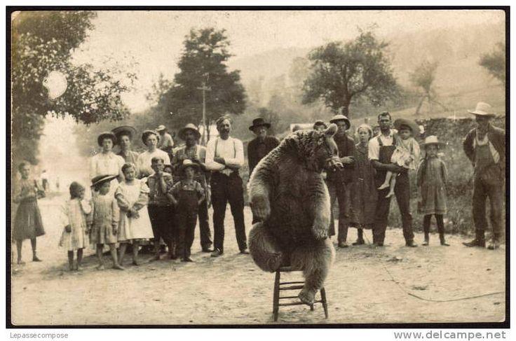 TOP - CARTE PHOTO montreur d´ours - un beau spectacle et un bon public - Delcampe.net demonstrator niedźwiedzi stara pocztówka