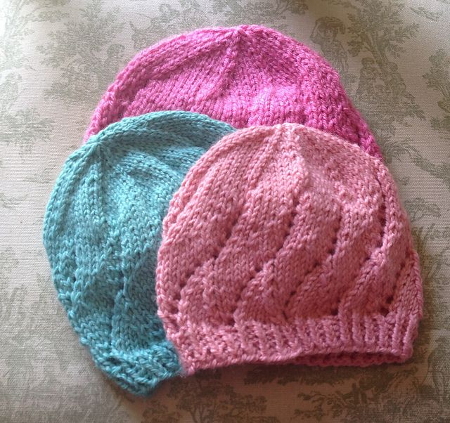 Meadowsweet Baby Hat - sizes newborn to 18 mos. Yarn - DK or Worsted; Needle sizes 4 and 7, or 5 and 8