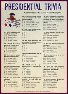 Printable Presidential Trivia answers for President's Day, Independence Day, Patriotic Holiday Parties