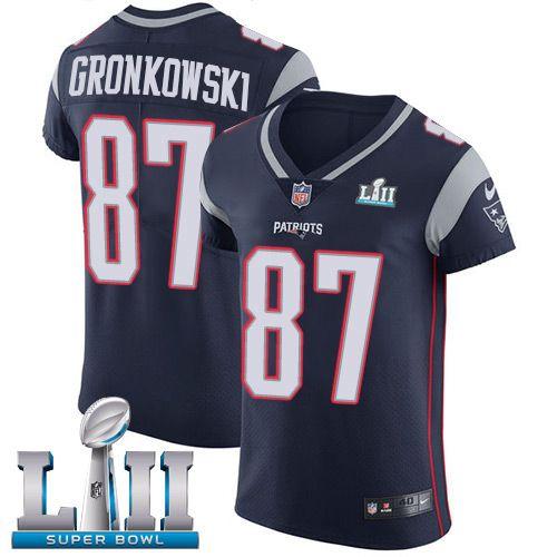 0cc5e2ccc Nike Patriots  87 Rob Gronkowski Navy Blue Team Color Super Bowl LII Men s  Stitched NFL Vapor Untouchable Elite Jersey
