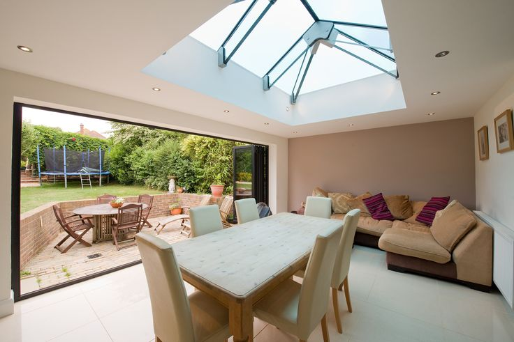 6 section folding door fully open maximising the use of natural light with the folding sliding doors and rooflight.
