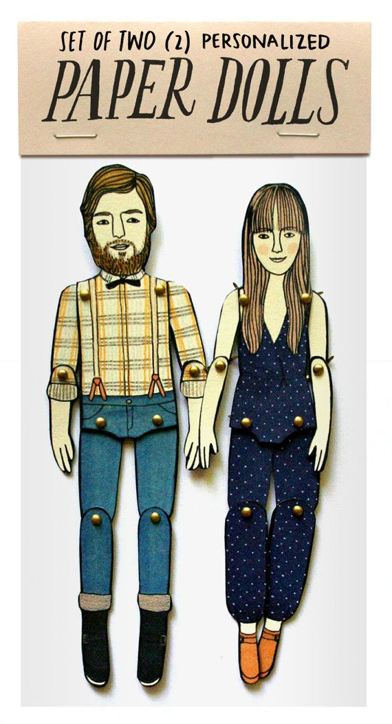 SET OF TWO personalized paper dolls by JordanGraceOwens on Etsy, $60.00