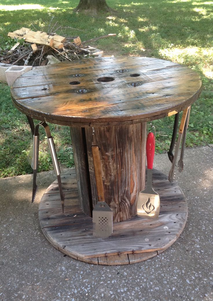 Grilling table from old wooden spool