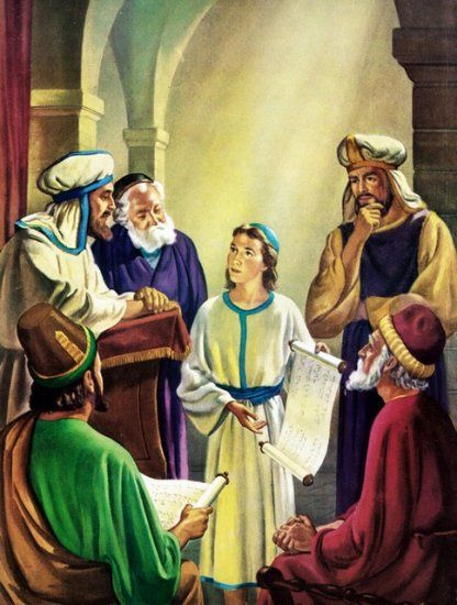 At age 12, Mary and Joseph cannot find Jesus for 3 days and finally find him preaching to high priests in the temple.