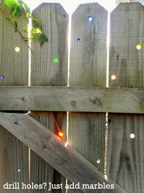 Drill Holes, add marbles- stolen from the Chive.     I am doing this STAT!: Coolest Ideas, Places Colors, Wood Fences, Cute Ideas, Awesome Ideas, Wooden Fence, Neat Ideas, Cool Ideas, Colors Marbel