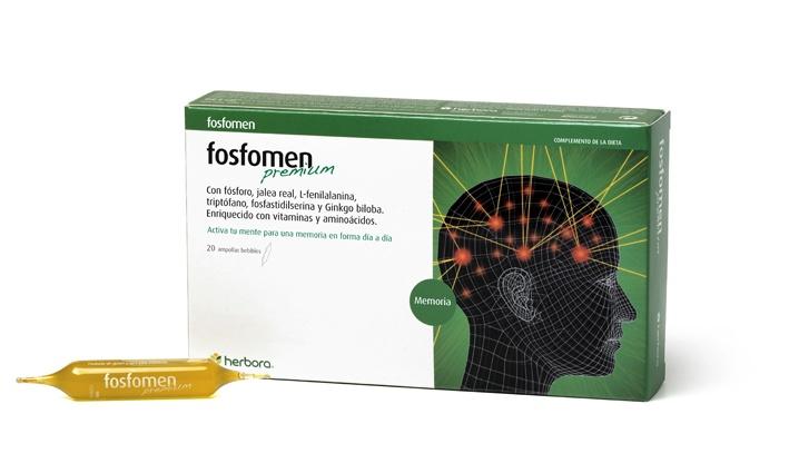 Fosfomen Premium 3X2. Complemento alimenticio reforzado para un tratamiento de choque que permite obtener resultados a los pocos días de iniciar el tratamiento. Ayuda a la concentracion y a la memoria. Composición: Jalea Real Fresca, Ginkgo (Ginkgo biloba), Fosfatidilserina, Fenilalanina, Triptófano, Taurina, Colina, Fósforo, Vitaminas (B1, B2, B6).