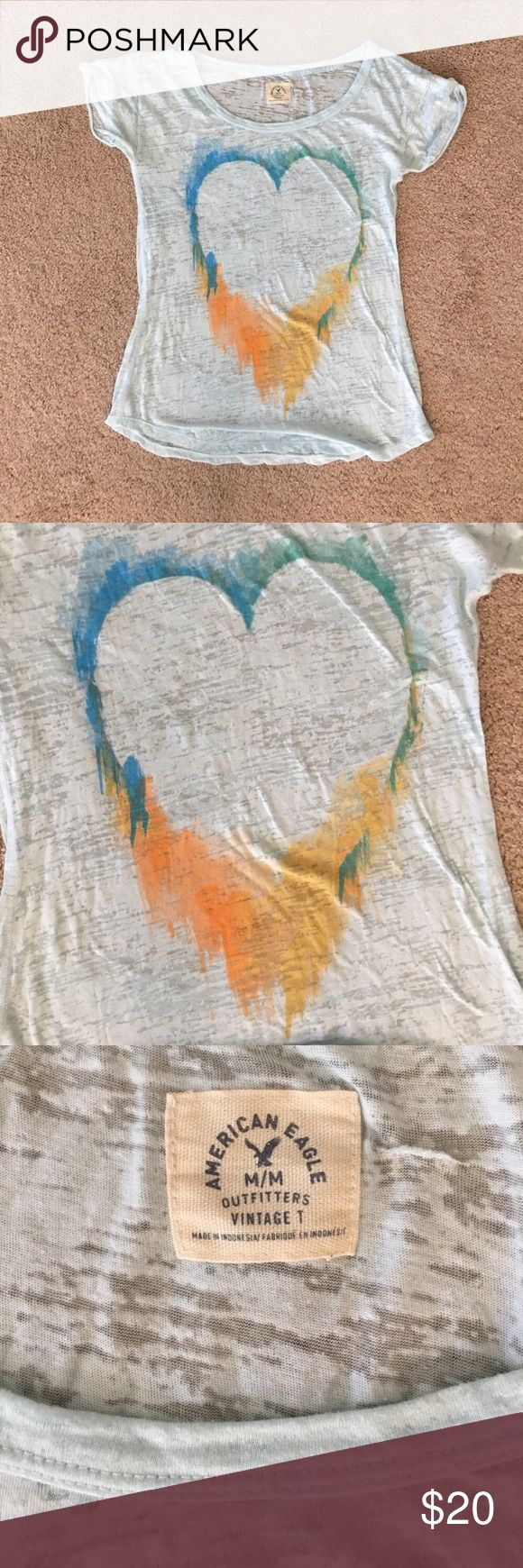 🧡American eagle Tshirt 🧡 American eagle tshirt-size medium-only worm a few times and I'm great condition! Price is negotiable American Eagle Outfitters Tops Tees - Short Sleeve
