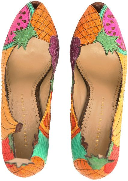 Charlotte Olympia Fruit Pumps in Yellow